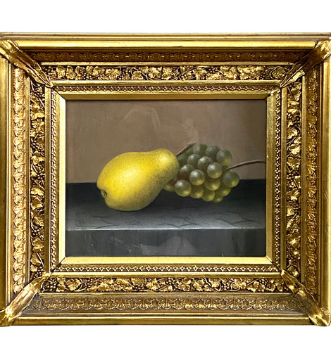 American Still Life Pastel on Paper of a Pear And Grapes 19th C.