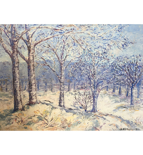 Winter Landscape, Oil on Canvas by N.M. Crump