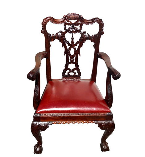 Set Of Eight English Carved Mahogany George III Style Dining Chairs
