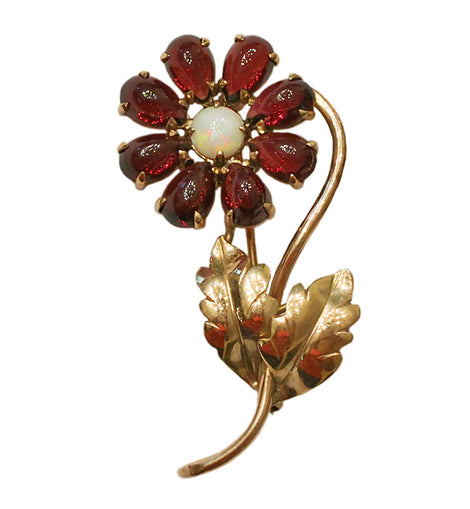 Retro 14K Gold Opal and Garnet Flower Brooch