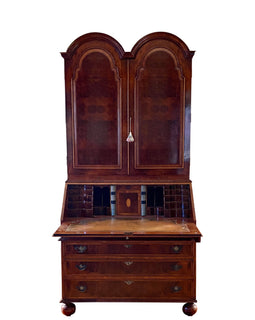 Vintage English Queen Anne Style Walnut Secretary Bookcase