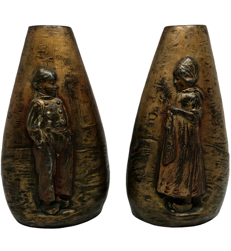 "Pair Of Figural Relief "" Dutch Boy And Girl "" Bronze Vases"