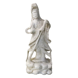 Ming Style Carved White Marble Guanyin Figure
