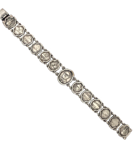 Victorian Sterling Theatrical Literary Link Bracelet