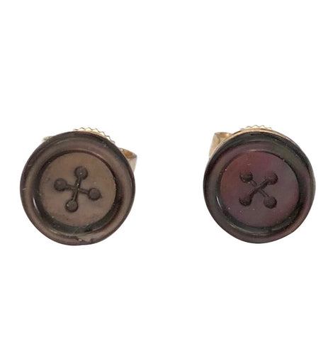 14K Gold Victorian Carved Shell Button Form Stud Earrings