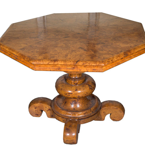 19th Century Burled Elm Classical Center Table