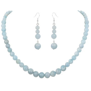 YACQ 925 Sterling Silver Natural Aquamarine 6 8 10mm Choker Necklace Dangle Earrings Sets Handmade Jewelry gifts For Women Mom