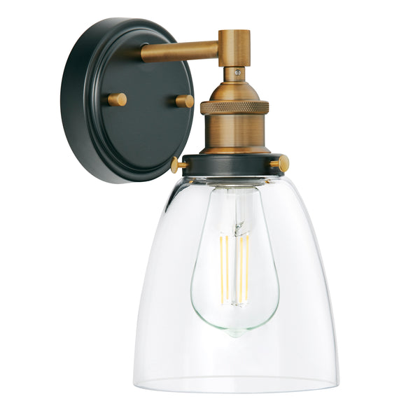 Fiorentino Industrial Wall Sconce w/Clear Glass, LED bulb included