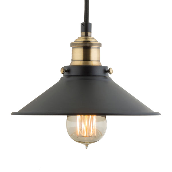 Andante Industrial Factory Pendant Light w/Metal Shade, LED bulb included