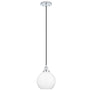 Primo Industrial Factory Pendant Light w/Milk Glass Shade