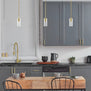 Satin Brass pendant light in kitchen