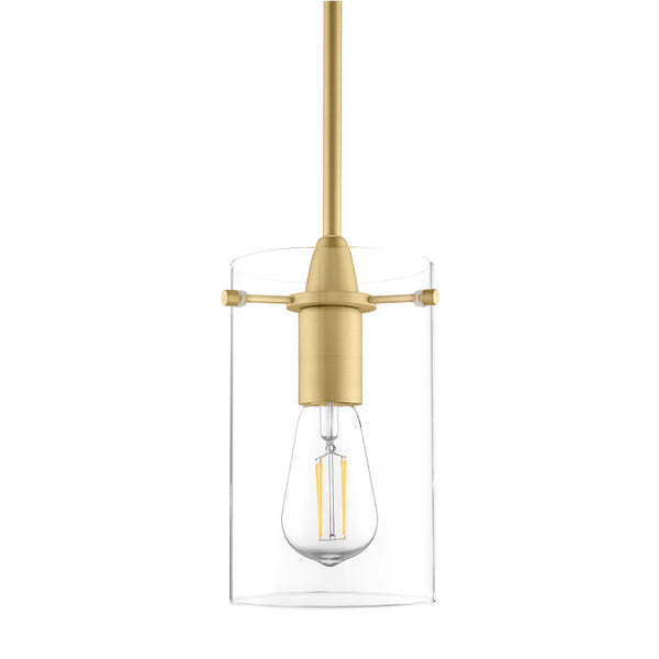Satin brass Effimero large Glass pendant lighting with no visible wiring, ideal for dining rooms and kitchens.