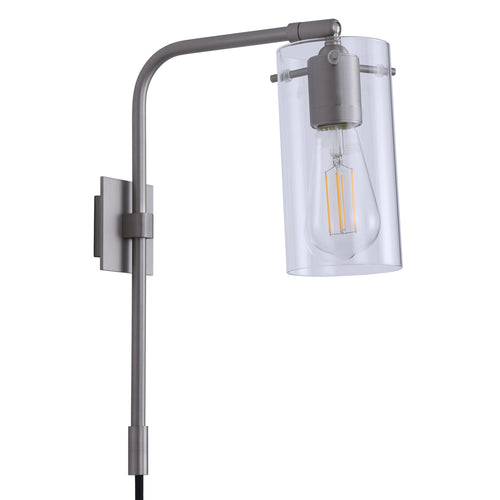 Gemma Industrial Plug-in Wall Lamp w/Glass Shade, LED bulb included