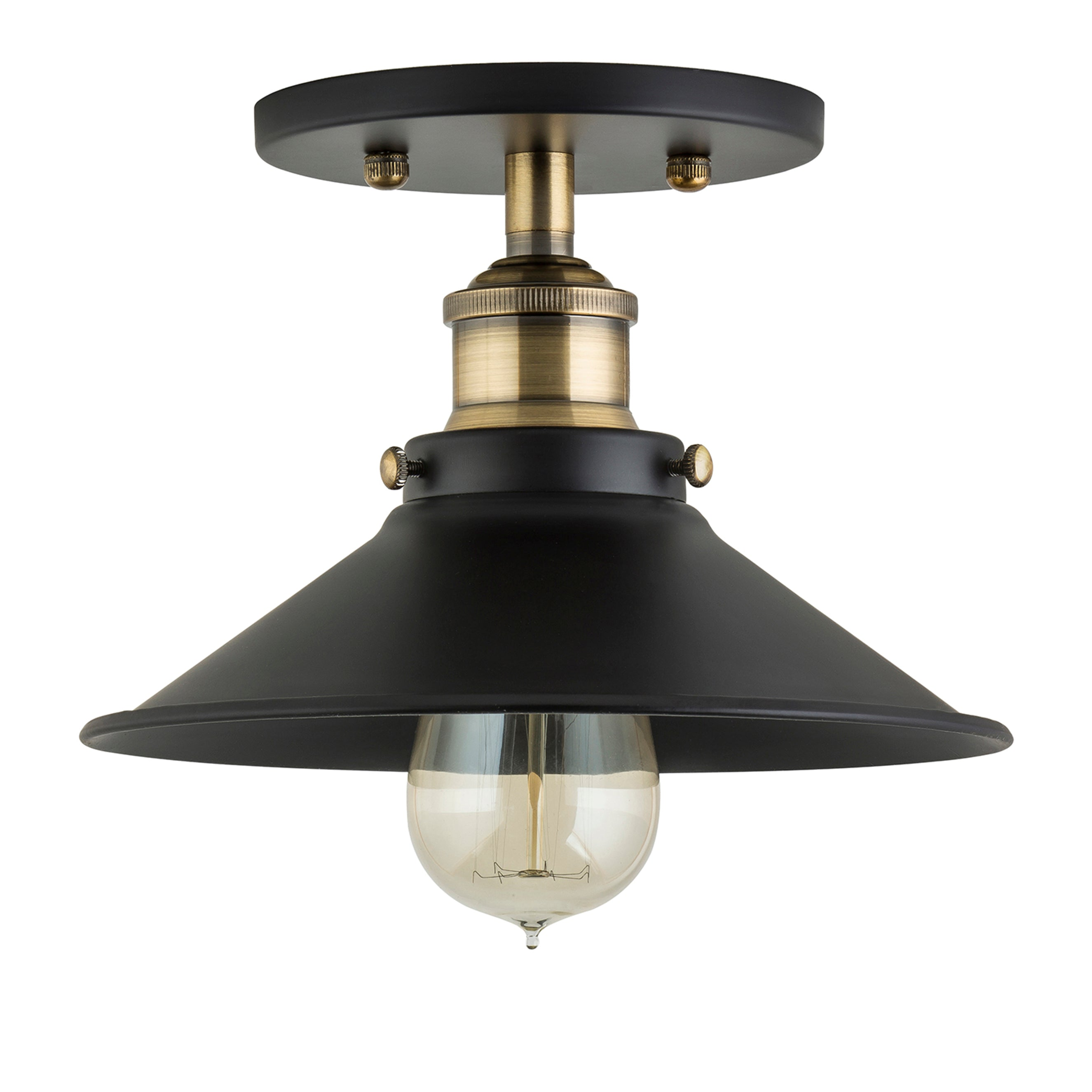 Andante Industrial Semi Flush Mount Ceiling Light, LED bulb included