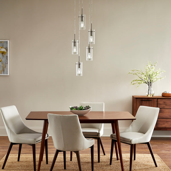 Effimero 5 Light Cluster Pendant Light, Clear Glass