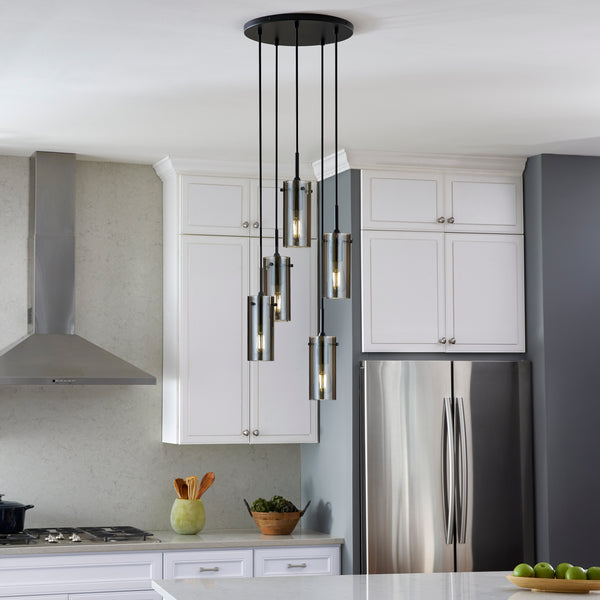 Effimero 5 Light Cluster Pendant Light, Polished Smoke Glass