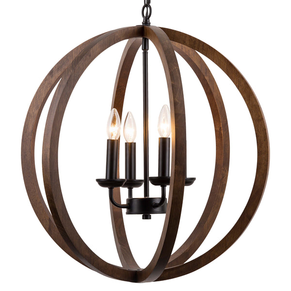 Terra 4 Light Wood Globe Chandelier