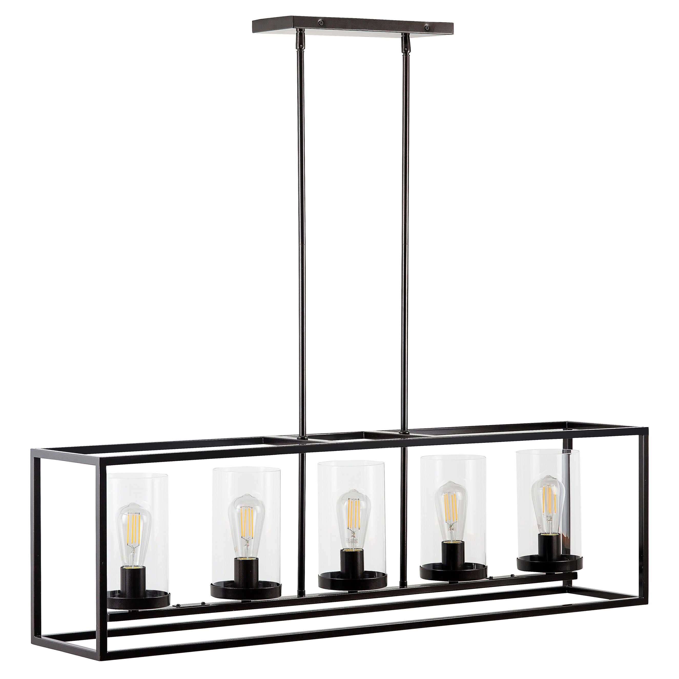 Verona 5 Light Box Pendant Chandelier - Dark Bronze - LED bulbs included