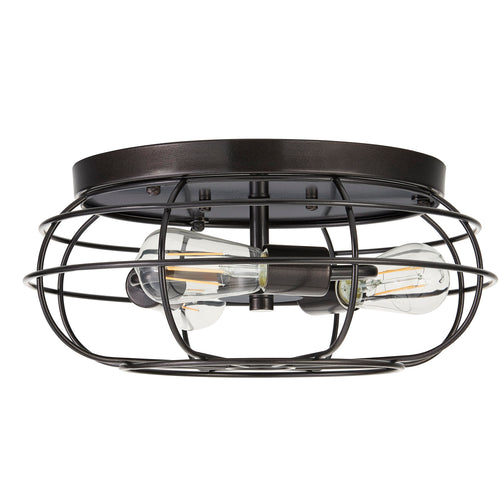 Cartaro 3 Light Industrial Vintage Cage Ceiling Light With LED Bulbs