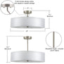 Grazia 20-Inch Three-Light Double Drum Convertible Ceiling Fixture w/Fabric Shade