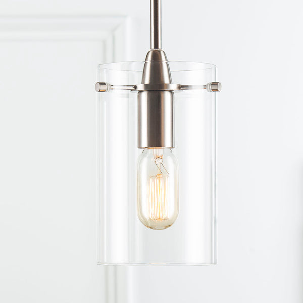 Polished chrome Effimero large Glass pendant lighting with no visible wiring, ideal for dining rooms and kitchens.
