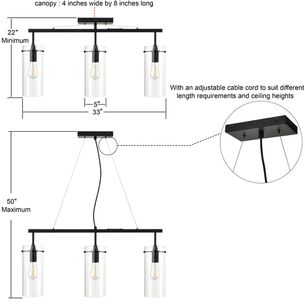 Effimero Large 3 Light Kitchen Island Hanging Light