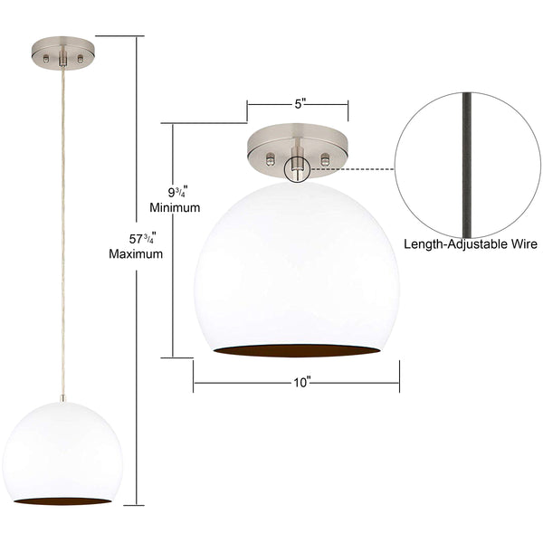 10 by 9.75 inch white pendant light