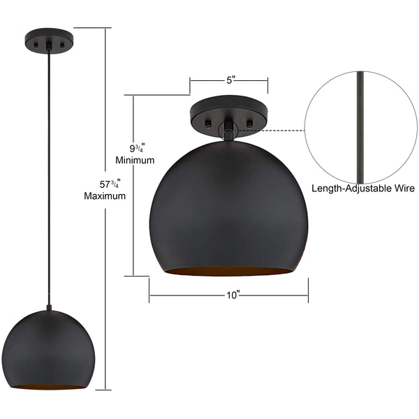 10 by 9.75 inch black pendant light