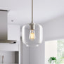 Piarra Modern Hanging Pendant Light with Curved Clear Glass Shade