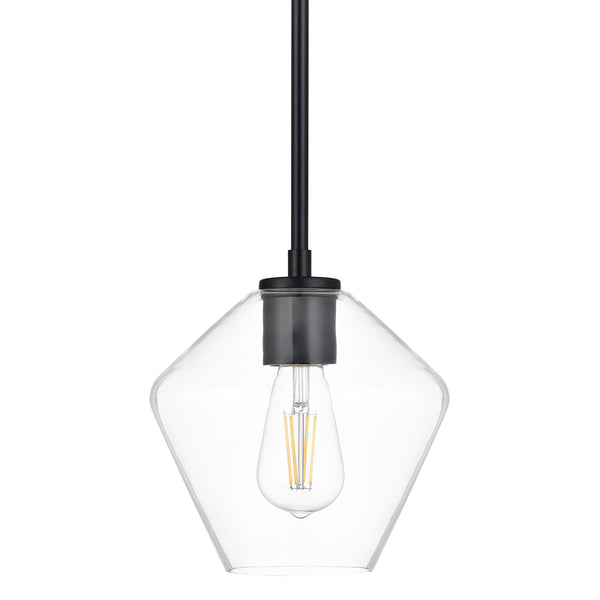 Macaria Modern Hanging Pendant Light with Angled Clear Glass Shade