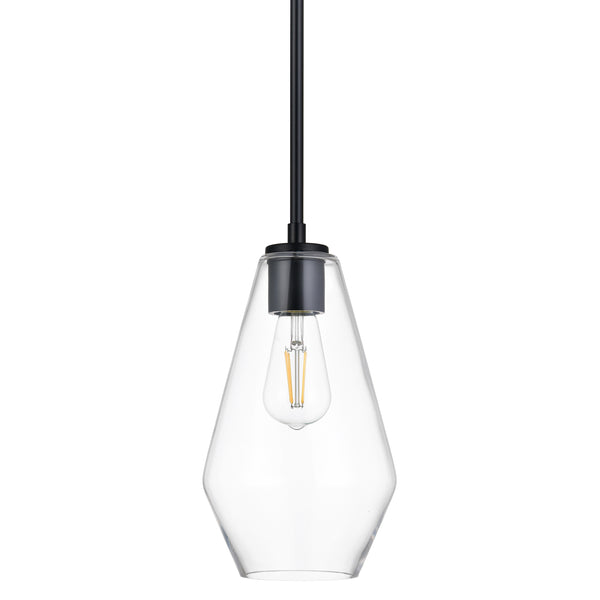 Giada Modern Hanging Pendant Light with Long Clear Glass Shade