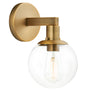 Sferra Industrial Wall Sconce w/ Clear Glass Globe, LED bulb included