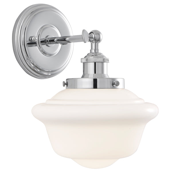 Lavagna Industrial 1 Light Bathroom Vanity Light w/Milk Glass