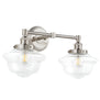 Lavagna Industrial 2 Light Bathroom Vanity Light w/Clear Glass, LED bulb included