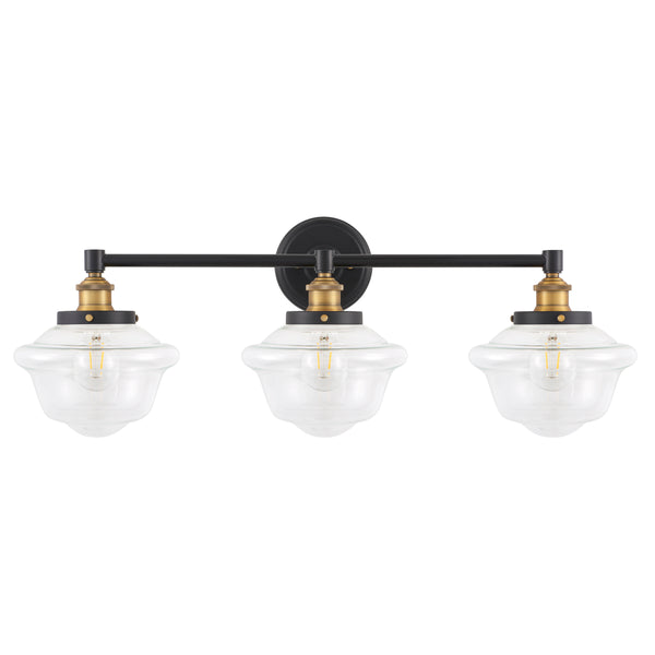 Lavagna Industrial 3 Light Bathroom Vanity Light w/Clear Glass, LED bulb included