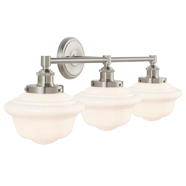 Lavagna Industrial 3 Light Bathroom Vanity Light w/ Milk Glass