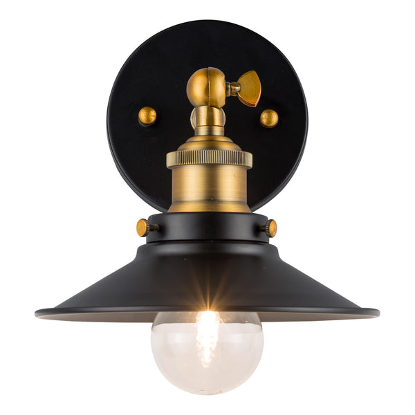 Andante Industrial Wall Sconce w/Metal Shade, LED bulb included