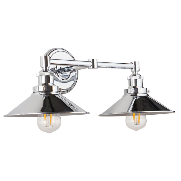 Andante 2 Light Industrial Wall Sconce w/Metal Shade, LED bulbs included
