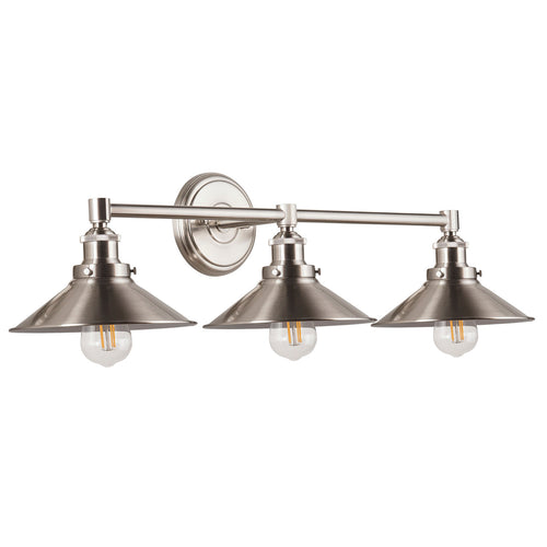 Andante Industrial 3 Light Wall Sconce w/Metal Shades, LED bulbs included