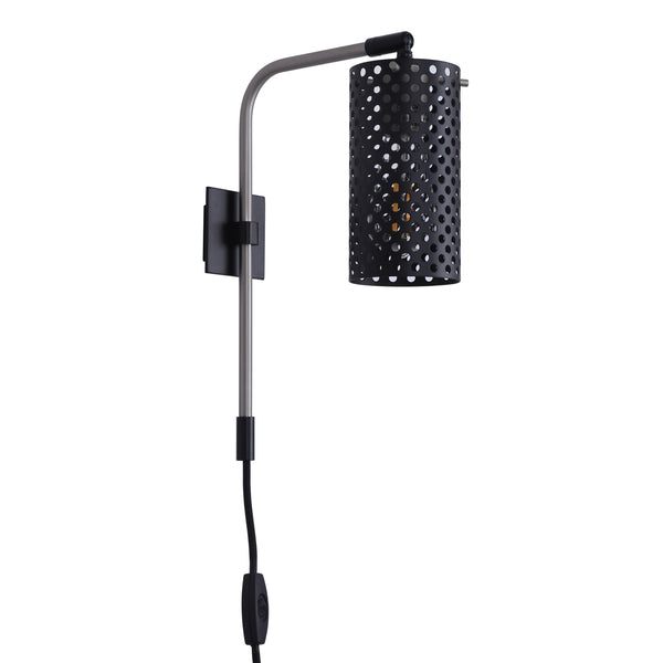 Gemma Industrial Plug-in Wall Lamp w/Metal Shade, LED bulb included