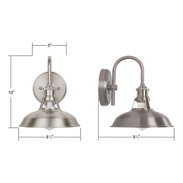 8.5 by 10 inch Olivera Bathroom Vanity Light in brushed nickel