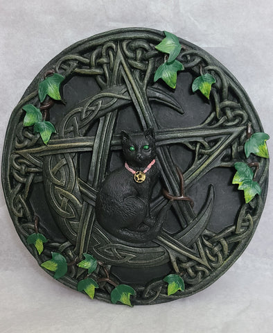 Pentacle Black Cat Wall Plaque
