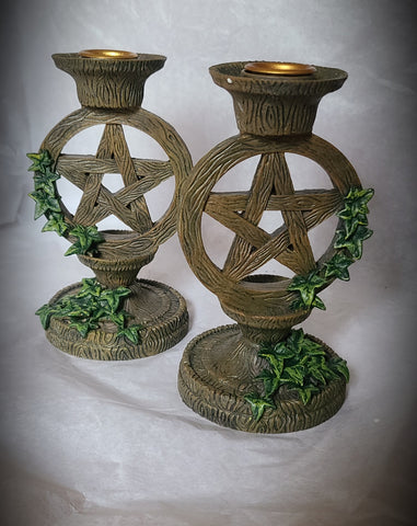 Pentacle Taper Candle Holders