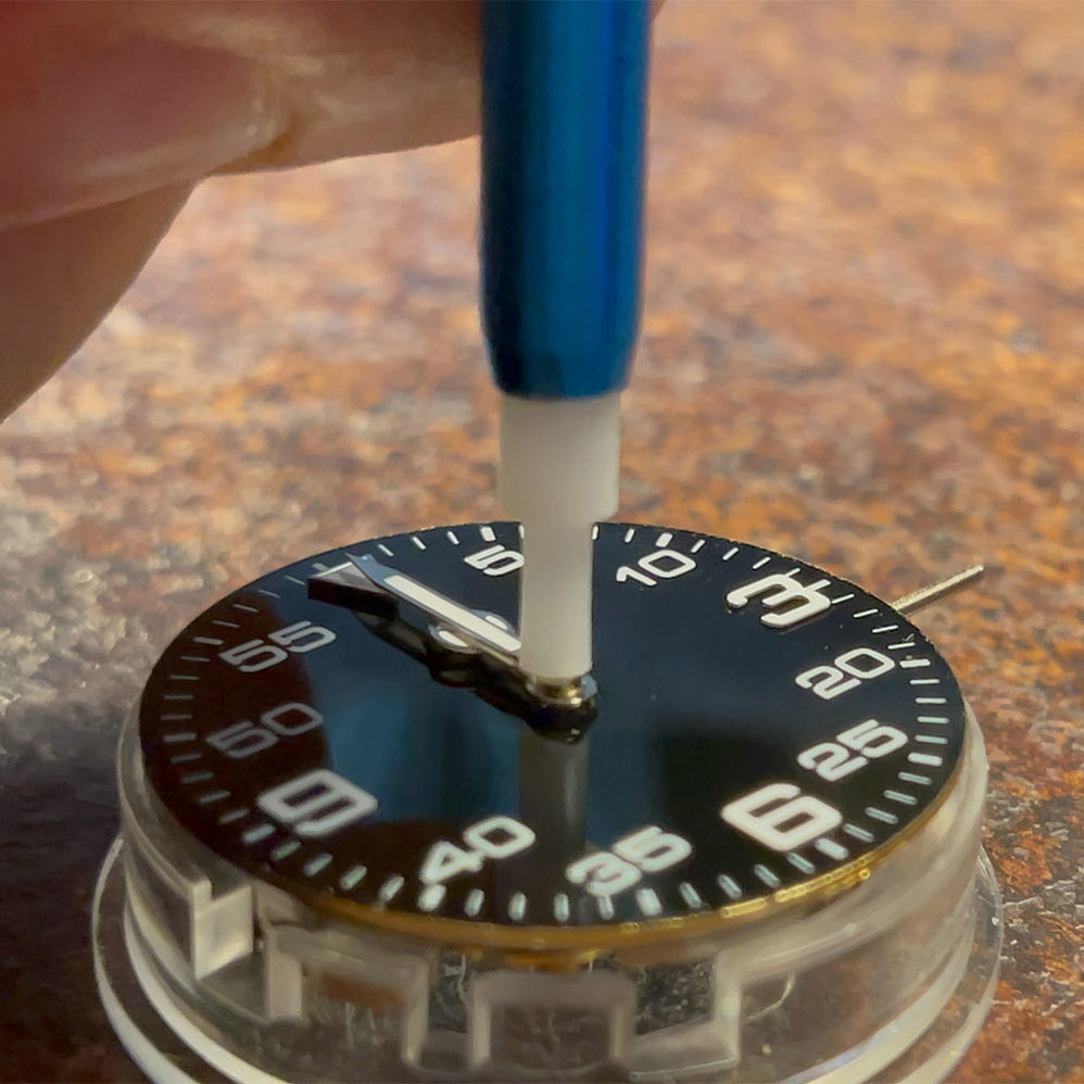 installing hands on watch dial custom