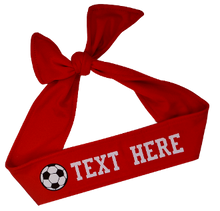 Load image into Gallery viewer, Design Your Own Soccer Tie Back Headband with VINYL Text - Quantity Discounts