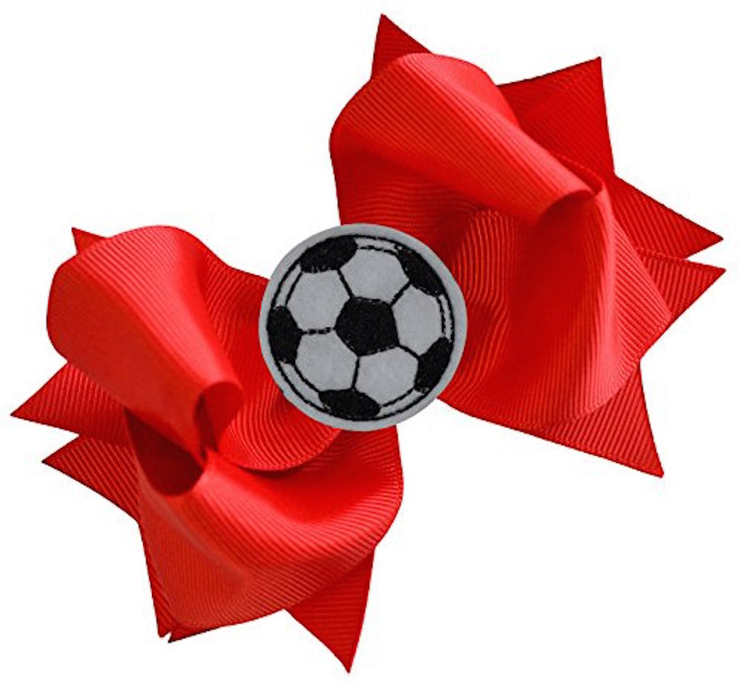 Soccer Hair Bow with Embroidered Soccer Ball Applique - MANY COLORS!