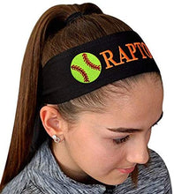 Load image into Gallery viewer, Softball Tie Back Moisture Wicking Headband Personalized with Your EMBROIDERED Text - Team Discounts