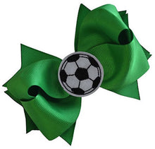 Load image into Gallery viewer, Soccer Hair Bow with Embroidered Soccer Ball Applique - MANY COLORS!