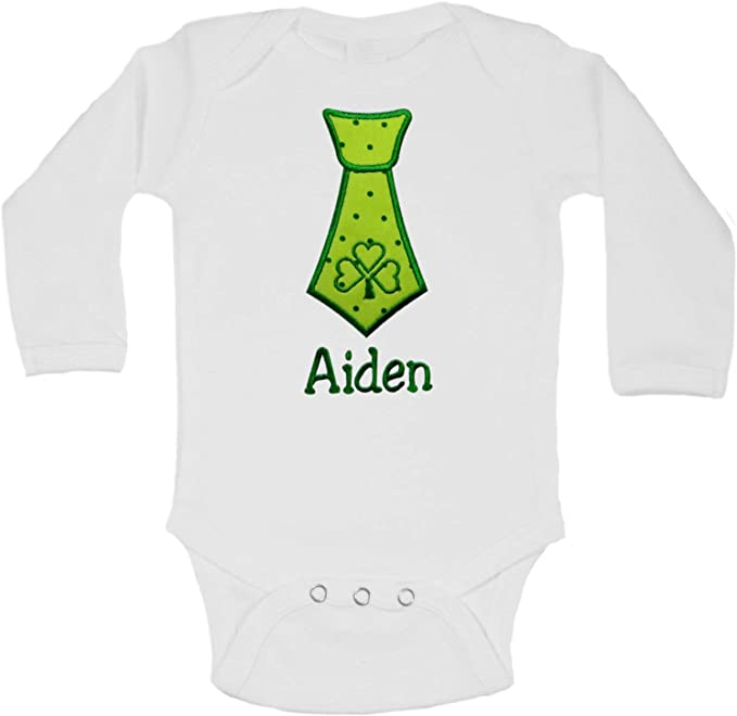 Embroidered St. Patrick's Day Shamrock Tie Bodysuit Romper for Baby Boys - Personalized with Your Custom Name