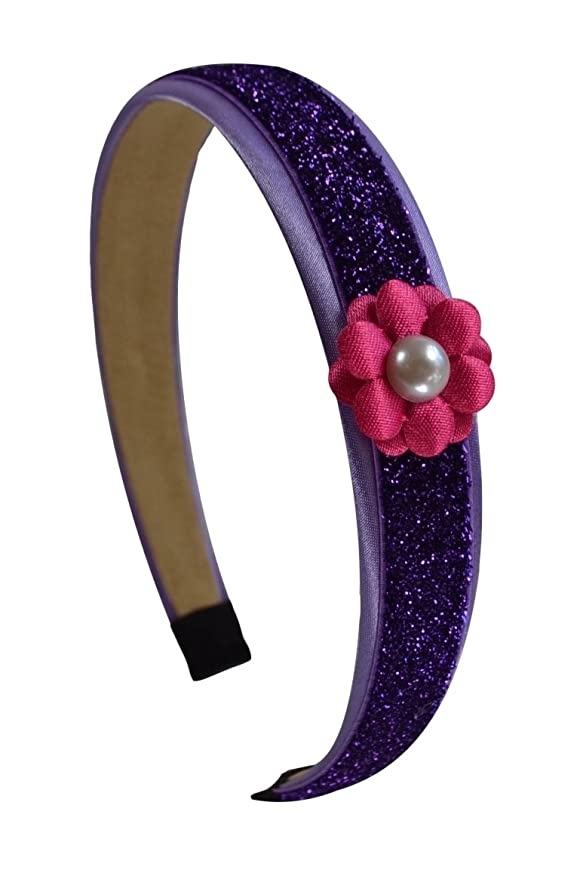 Purple Glitter Headband with Pink Daisy Flower for Preschoolers and Little Girls